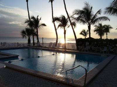 Sunset over Estero Beach Club Pool