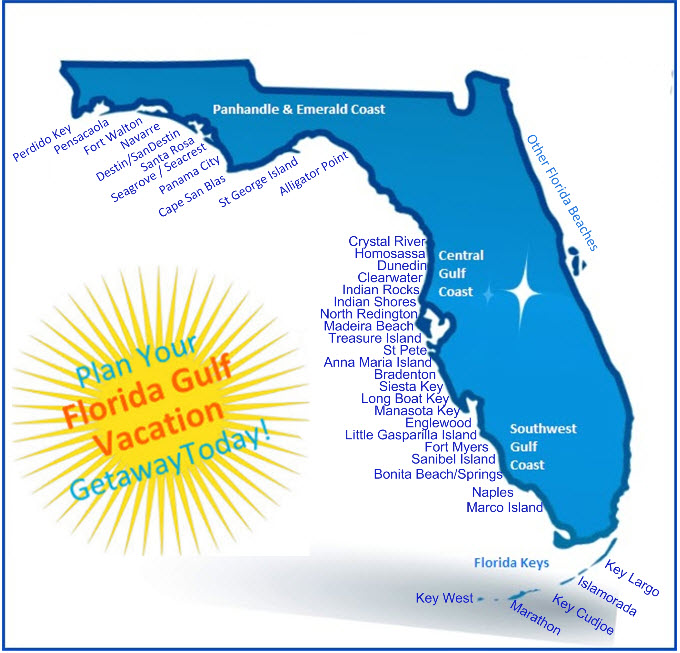 Florida Gulf Side Map.Florida Gulf Vacation Vacation Rental Map