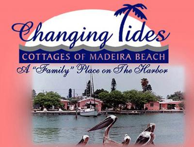 water-side view of Changing Tides Cottages of Madeira Beach